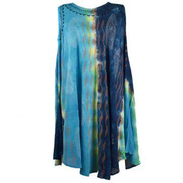 Robe Karanja Grande Taille Bleu Deux Tons JK-1314