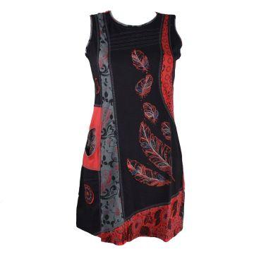 Robe Courte Harda Imprimé Ethnique Rouge
