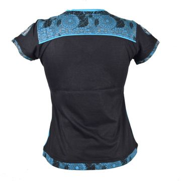 Top Zimia Mi- Manches en Maille Jersey Turquoise