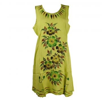 Robe Courte Temla Peint Artisanal Floral JK-002 Anis