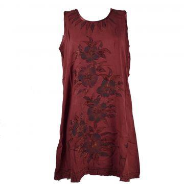 Robe Courte Temla Peint Artisanal Floral JK-002 Bordeaux