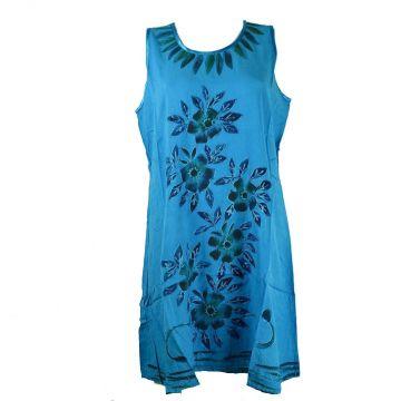 Robe Courte Temla  Peint Artisanal Floral JK-002 Turquoise