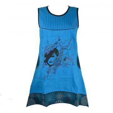 Robe Asymetrique Tal Imprimé Ethnique EV18-05 Turquoise.