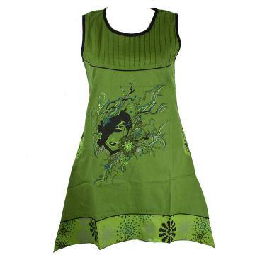 Robe Tal Coton Popeline Imprimé Ethnique Vert Gazon