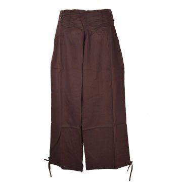 Pantalon Femme Naricha Coton Uni Marron
