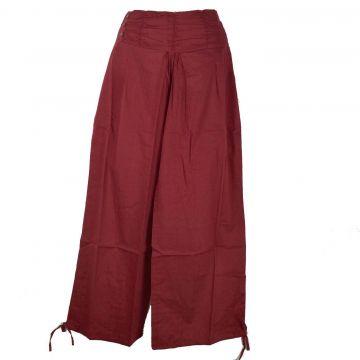 Pantalon Femme Naricha Coton Uni Bordeaux