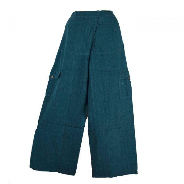 Pantalon Détente Nisi Yoga Coton Artisanal Uni Pétrole