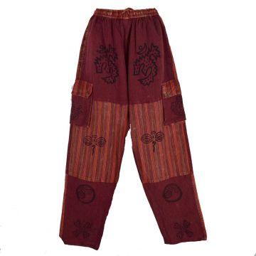 Pantalon Homme Kudiya Stonewash Coton Artisanal Bordeaux