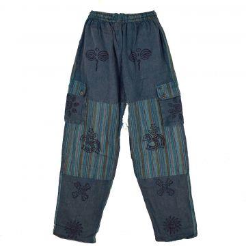 Pantalon Homme Kudiya Stonewash Coton Artisanal Pétrole