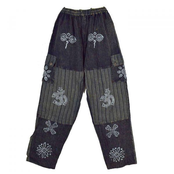 Pantalon Homme Kudiya Délavé Coton Artisanal Noir