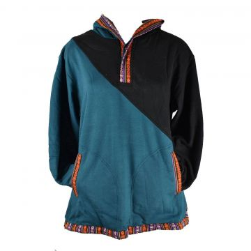 Sweater Jakholi Deux Tons Noir et Pétrole