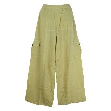 Pantalon Nisi Détente Yoga Coton Artisanal Uni Ecru