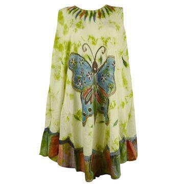 Robe Asymetrique Papillon Peint main JK-293 Anis