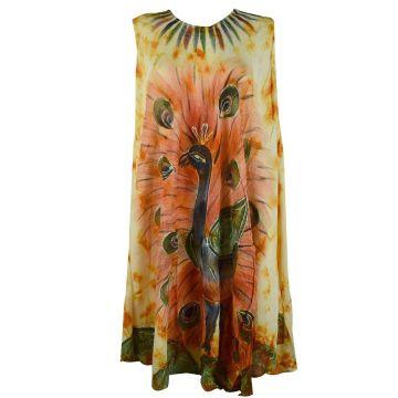 Robe Grande Taille Peacock Peint JK-424 Ton Oranger