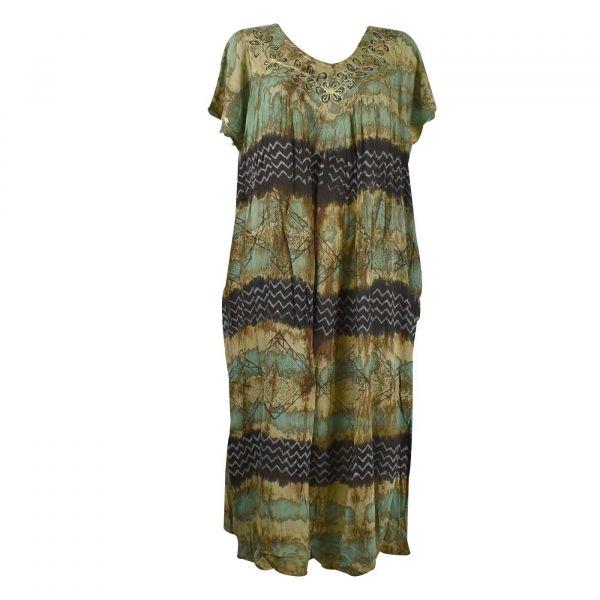 Robe Longue Deori JK-9195 Tie Dye vert