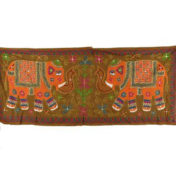 Grande Tapisserie Murale Brodé Eléphant Indien NP-2/A
