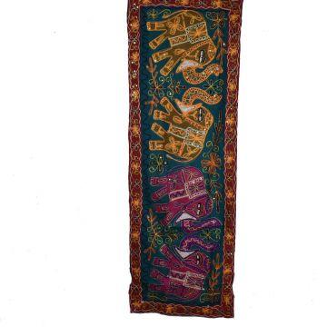 Tapisserie Murale Brodé Eléphants Inde NP-4/F