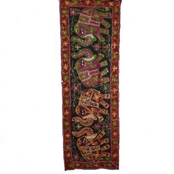 Tapisserie Murale Brodé Eléphants Inde NP-4/J
