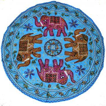 Tapisserie Murale Brodé Eléphants Inde NP-5/B