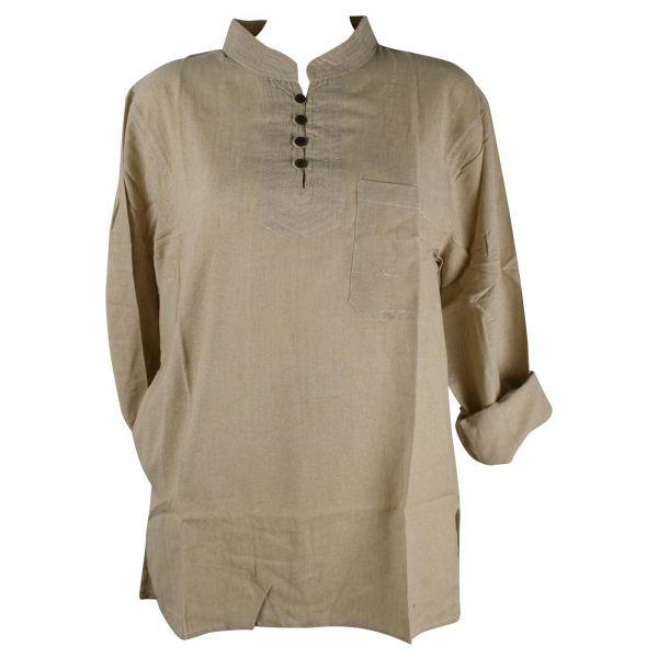 Chemise Homme Khudi Coton Naturel Tramage Artisanal SD-02 F/S ecru