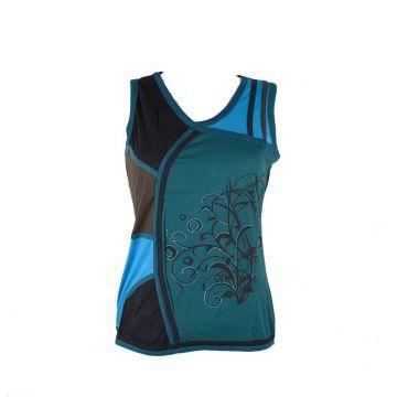 Top Court Hidura Maille Jersey Ton Bleu