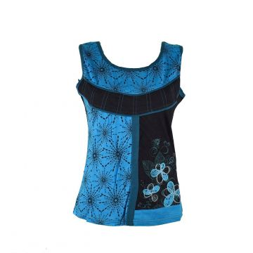 Top Ethnique Dhoma Coton Jersey Turquoise
