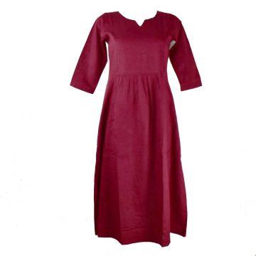 Robe Longue Sanjari Coton Uni Bordeaux