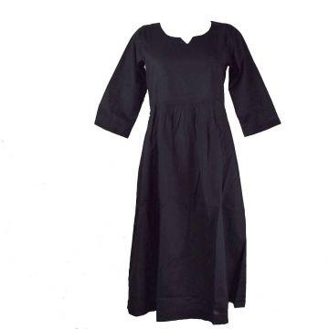 Robe Longue Sanjari Coton Uni et Manches Trois Quart