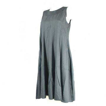 Robe Anjora Mi-Longue Unie Gris et Évasée