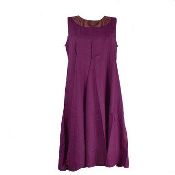Robe Ton Uni Anjora Midi coupe Évasée Prune