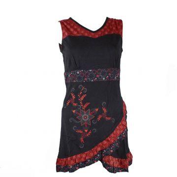 Robe Courte Chuwar Asymétrique Noir et Rouge