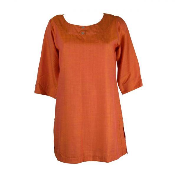Tunique Rania Satin Uni Orange