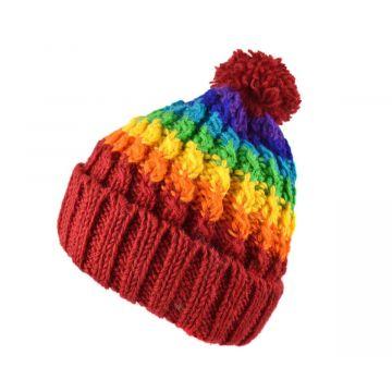Bonnet Muna Tricot Laine Pompon Rainbow
