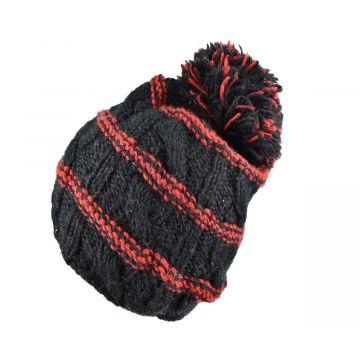 Bonnet Tharga Laine Tricotée Noir avec Pompon