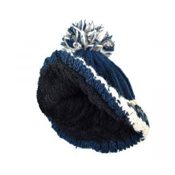 Bonnet Kankra Laine Tricotée Doublé Polaire Bleu Pétrole