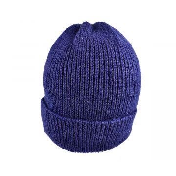 Bonnet Laine tricotée Fourré Polaire Ton Bleu Foncé