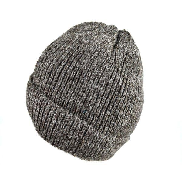 Bonnet Laine tricotée Fourré Polaire Brun Naturel