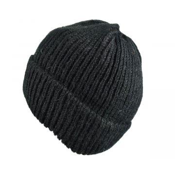Bonnet Basique Sirpa Noir Tricot Laine Pour Homme