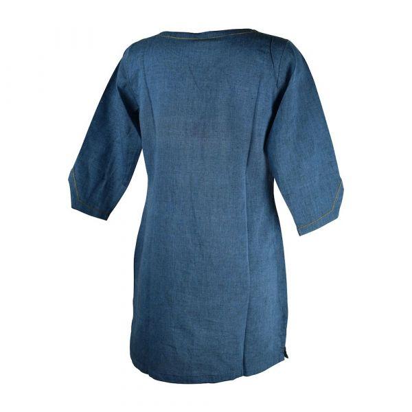 Tunique Femme Coton Khadi Tissé Bleu Foncé