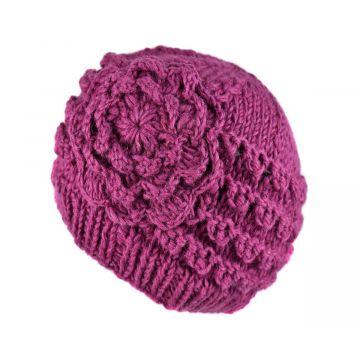 Bonnet Court Tanji Femme Laine Floral Parme