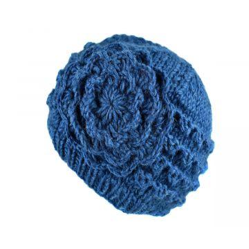 Bonnet Court Tanji Femme Laine Floral Bleu Pétrole