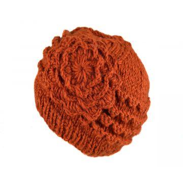 Bonnet Court Tanji Femme Laine Floral Rouille