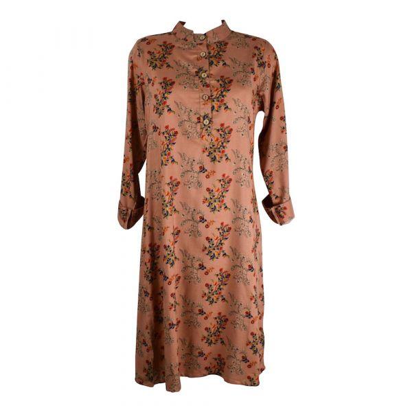 Robe Tunique Mainpuri Col imperial Imprimé Saumon