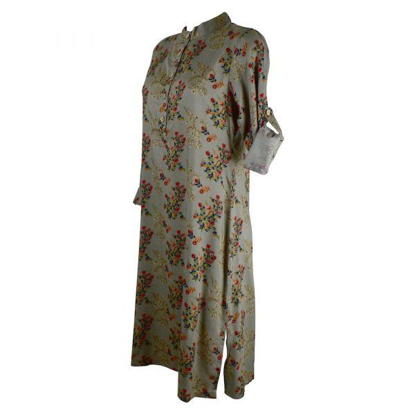 Robe Tunique Mainpuri Col imperial Imprimé Gris