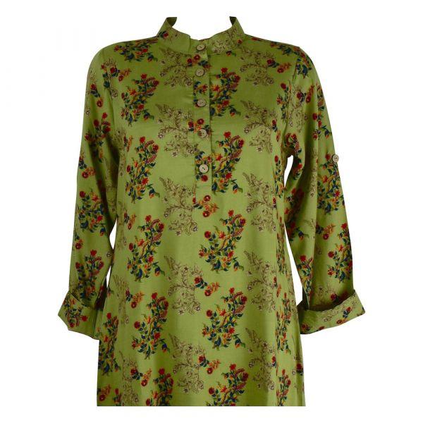 Robe Tunique Mainpuri Col imperial Imprimé Vert