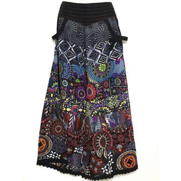 Pantalon Chakina Noir Patchwork Coton Imprimé