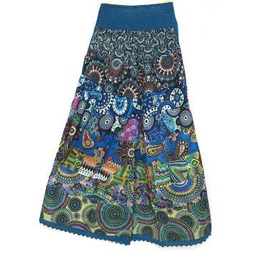 Pantalon Chakina Bleu Patchwork Coton Imprimé