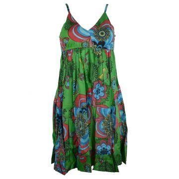 Robe Courte Akola Coton Imprimé Ton Vert