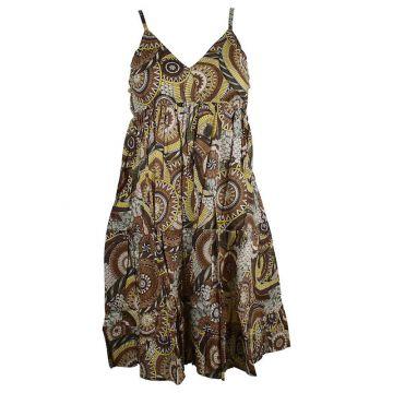 Robe Courte Akola Coton Imprimé Ton Marron