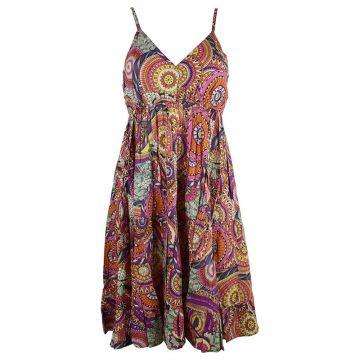 Robe Courte Akola Coton Imprimé Multicolore